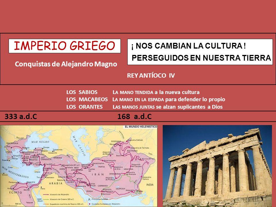 Conquistas de Alejandro Magno REY ANTÍOCO IV LOS SABIOS L A MANO TENDIDA a la nueva cultura LOS MACABEOS L A MANO EN LA ESPADA para defender lo propio