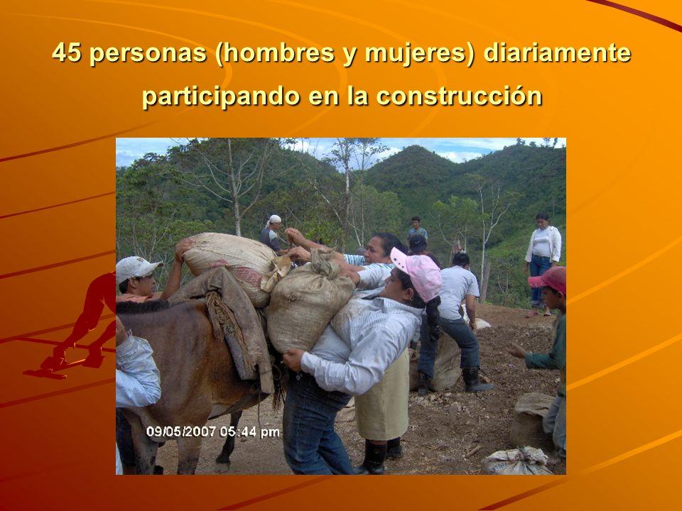 45 personas (hombres y mujeres) diariamente participando en la construcción