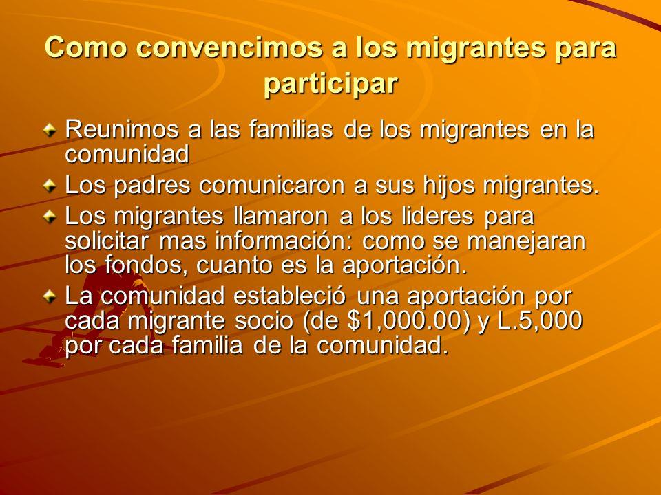 Como convencimos a los migrantes para participar Reunimos a las familias de los migrantes en la comunidad Los padres comunicaron a sus hijos migrantes