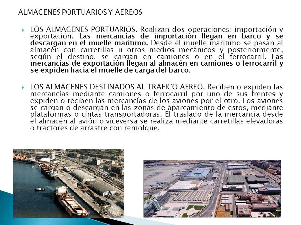 ALMACENES PORTUARIOS Y AEREOS LOS ALMACENES PORTUARIOS. Realizan dos operaciones: importación y exportación. Las mercancías de importación llegan en b