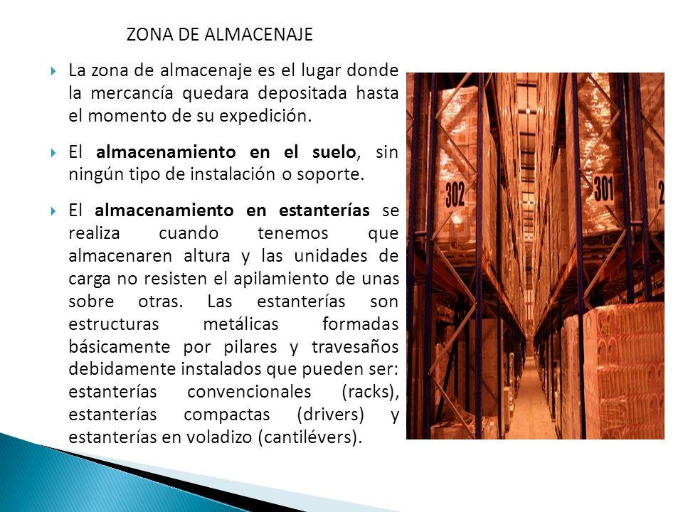 ZONA DE ALMACENAJE La zona de almacenaje es el lugar donde la mercancía quedara depositada hasta el momento de su expedición. El almacenamiento en el