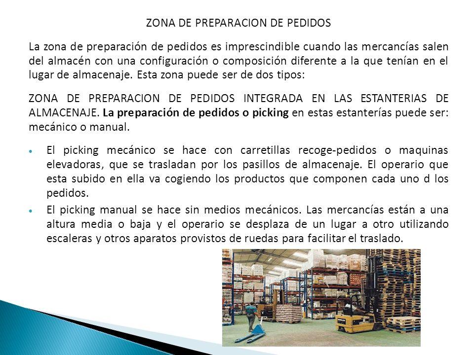 ZONA DE PREPARACION DE PEDIDOS La zona de preparación de pedidos es imprescindible cuando las mercancías salen del almacén con una configuración o com