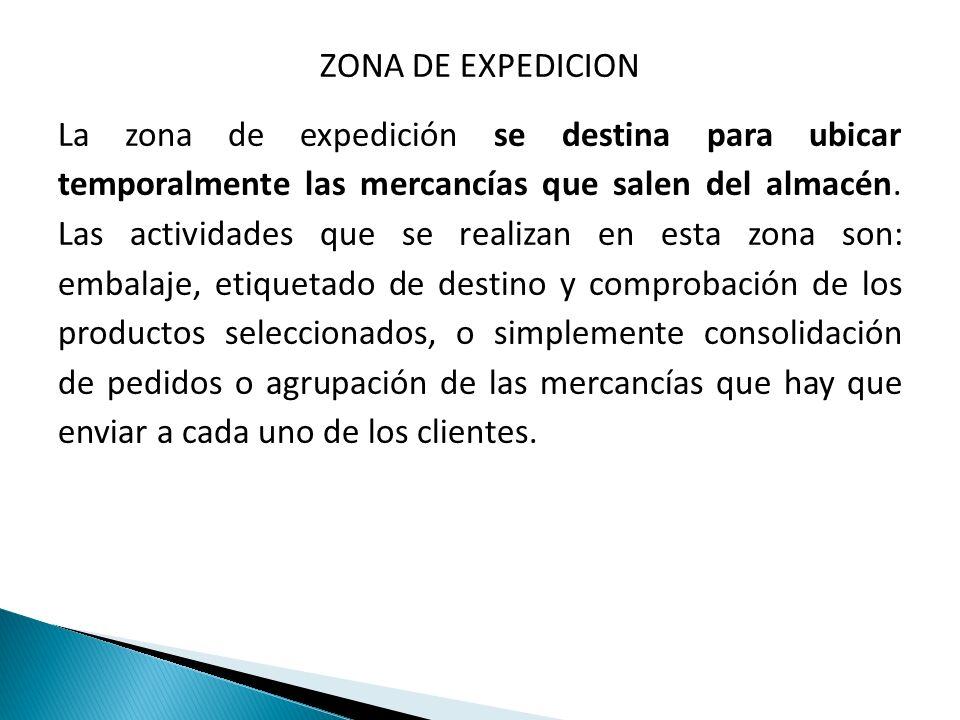 ZONA DE EXPEDICION La zona de expedición se destina para ubicar temporalmente las mercancías que salen del almacén. Las actividades que se realizan en