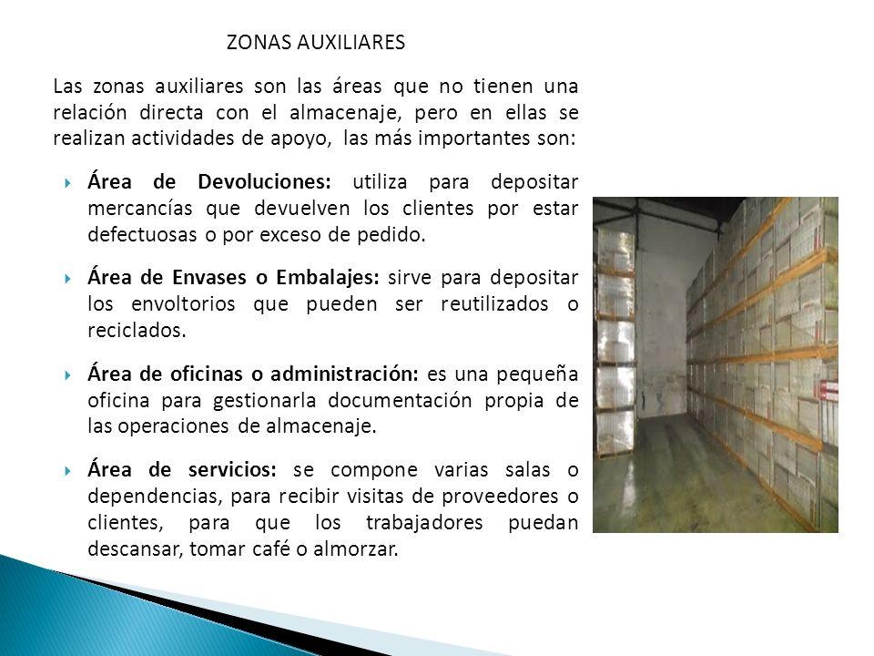 ZONAS AUXILIARES Las zonas auxiliares son las áreas que no tienen una relación directa con el almacenaje, pero en ellas se realizan actividades de apo