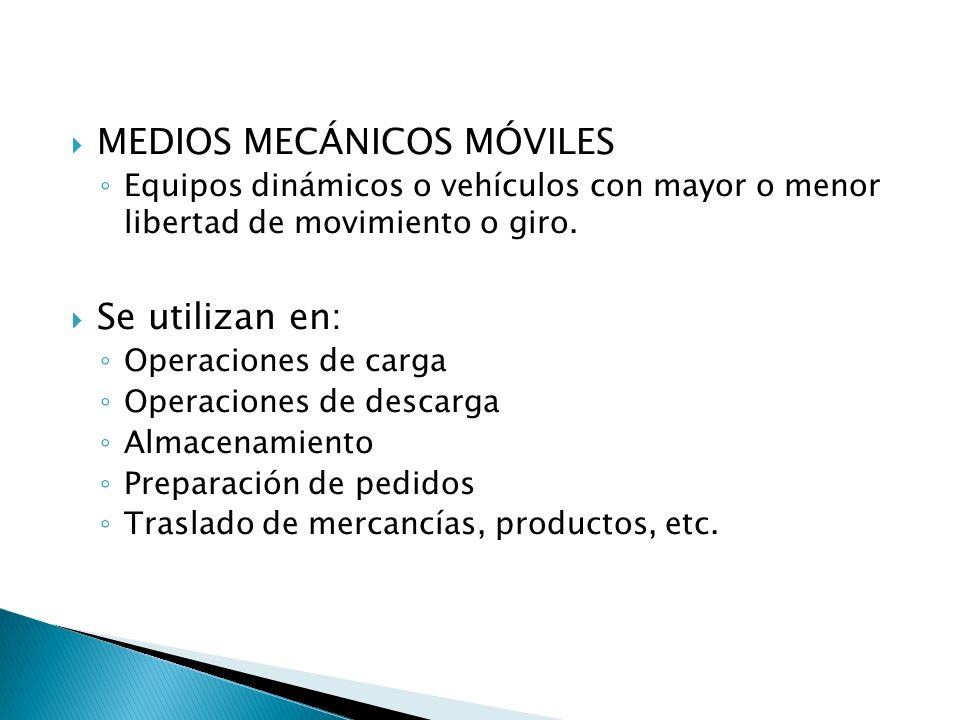 MEDIOS MECÁNICOS MÓVILES Equipos dinámicos o vehículos con mayor o menor libertad de movimiento o giro. Se utilizan en: Operaciones de carga Operacion
