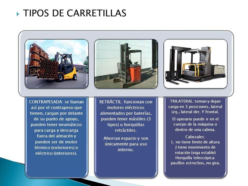 TIPOS DE CARRETILLAS CONTRAPESADA: se llaman así por el contrapeso que tienen, cargan por delante de su punto de apoyo, pueden tener neumáticos para c