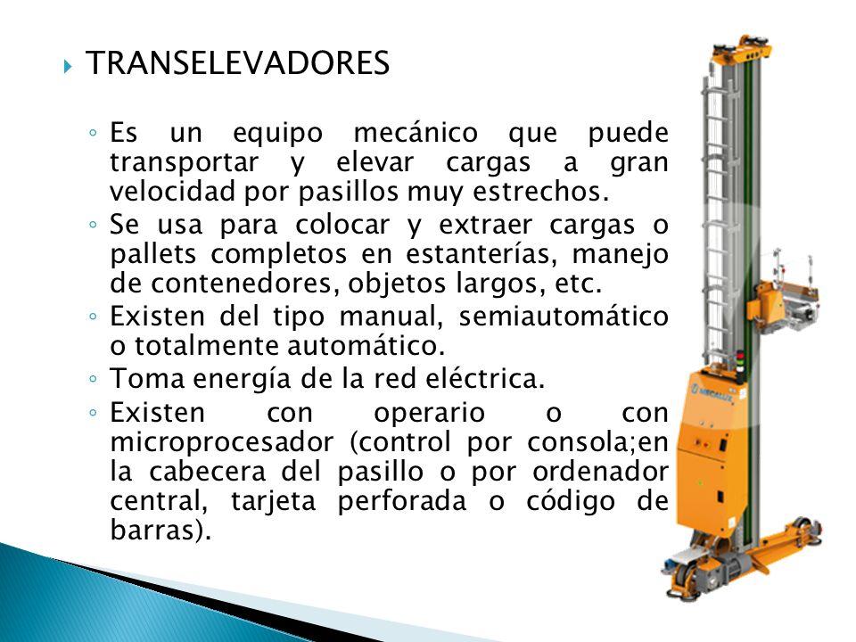 TRANSELEVADORES Es un equipo mecánico que puede transportar y elevar cargas a gran velocidad por pasillos muy estrechos. Se usa para colocar y extraer