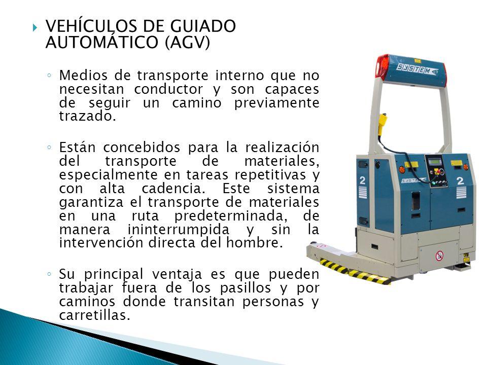 VEHÍCULOS DE GUIADO AUTOMÁTICO (AGV) Medios de transporte interno que no necesitan conductor y son capaces de seguir un camino previamente trazado. Es