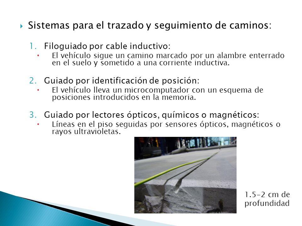 Sistemas para el trazado y seguimiento de caminos: 1.Filoguiado por cable inductivo: El vehículo sigue un camino marcado por un alambre enterrado en e