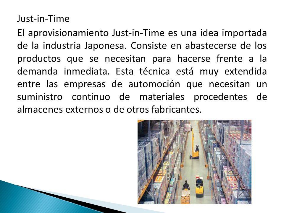 Just-in-Time El aprovisionamiento Just-in-Time es una idea importada de la industria Japonesa. Consiste en abastecerse de los productos que se necesit