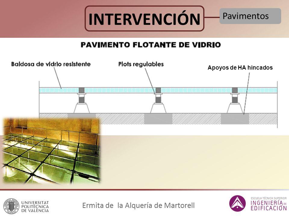 INTERVENCIÓN Pavimentos Ermita de la Alquería de Martorell Apoyos de HA hincados