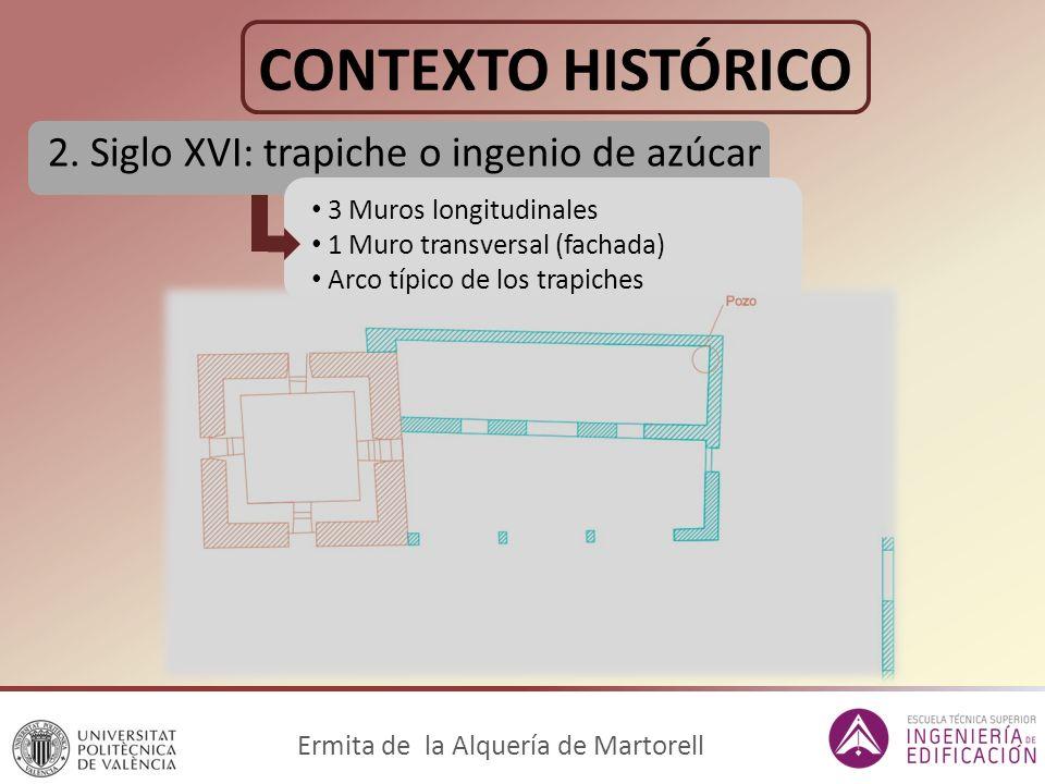 CONTEXTO HISTÓRICO 2. Siglo XVI: trapiche o ingenio de azúcar Ermita de la Alquería de Martorell