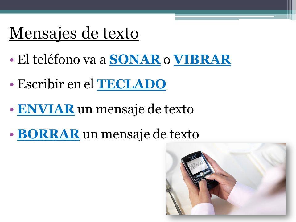 El teléfono va a SONAR o VIBRAR Escribir en el TECLADO ENVIAR un mensaje de texto BORRAR un mensaje de texto Mensajes de texto