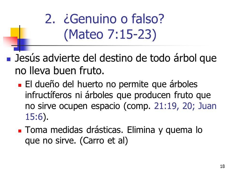 18 Jesús advierte del destino de todo árbol que no lleva buen fruto.