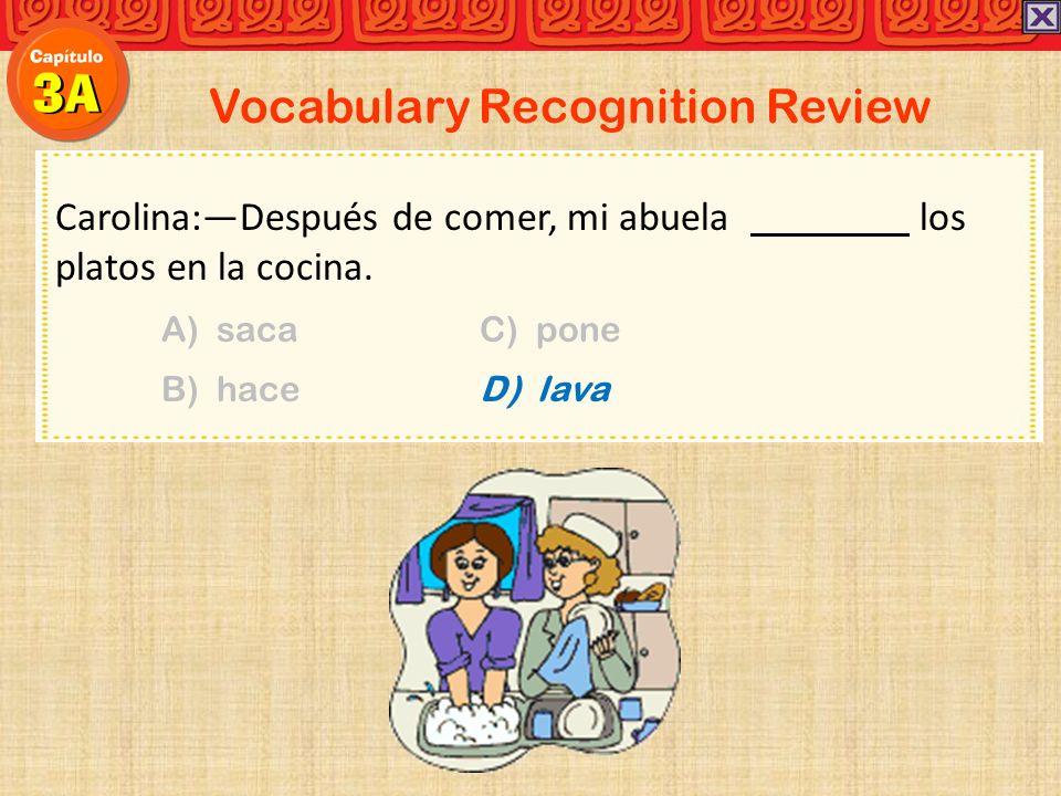 Vocabulary Recognition Review Carolina:Después de comer, mi abuela los platos en la cocina. A) sacaC) pone B) haceD) lava