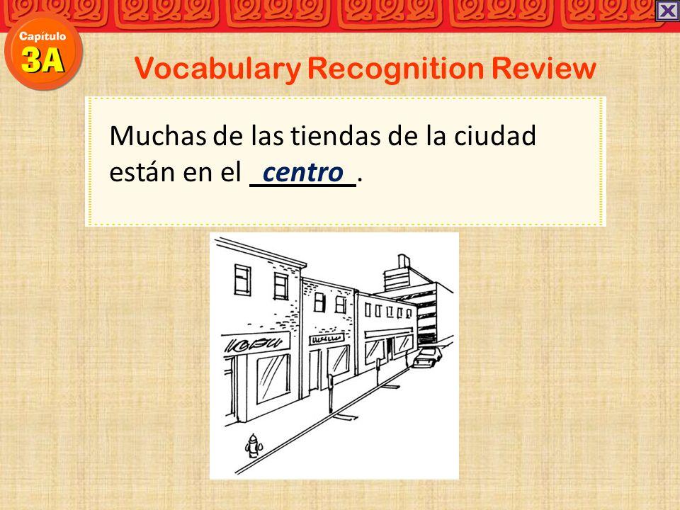 Vocabulary Recognition Review Muchas de las tiendas de la ciudad están en el centro.