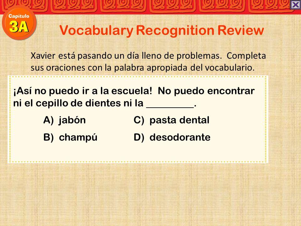 Vocabulary Recognition Review Xavier está pasando un día lleno de problemas.