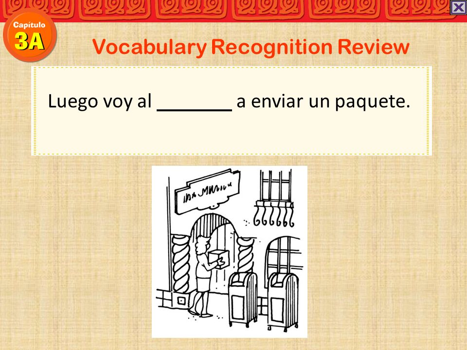 Vocabulary Recognition Review Carolina:Antes de salir de la casa, yo la cama y arreglo mi cuarto.