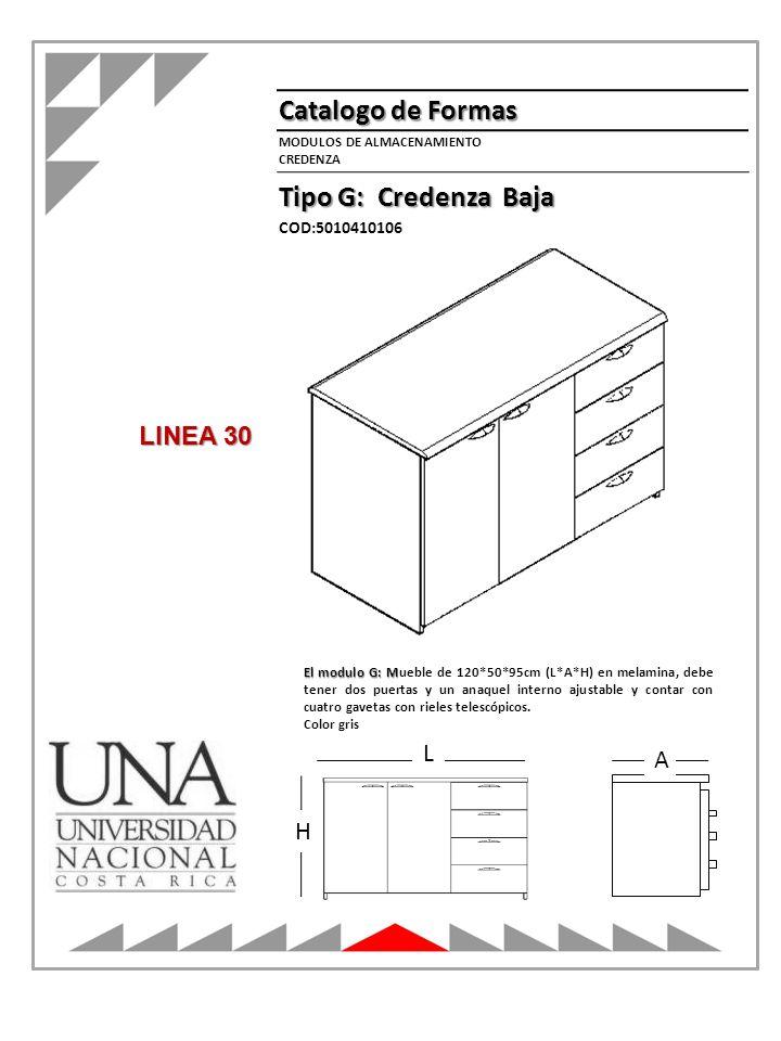 Catalogo de Formas Tipo G: Credenza Baja MODULOS DE ALMACENAMIENTO CREDENZA L H A COD:5010410106 El modulo G: M El modulo G: Mueble de 120*50*95cm (L*