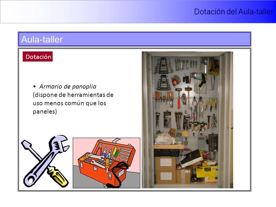 Dotación del Aula-taller Aula-taller Dotación Armario de panoplia (dispone de herramientas de uso menos común que los paneles)