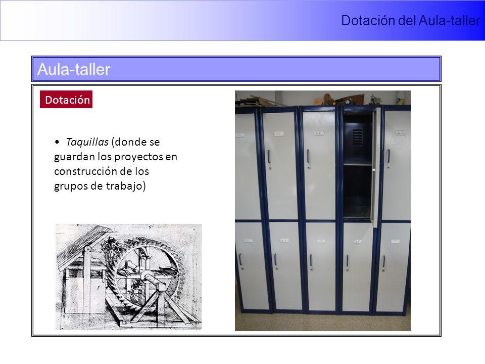 Dotación del Aula-taller Aula-taller Dotación Taquillas (donde se guardan los proyectos en construcción de los grupos de trabajo)