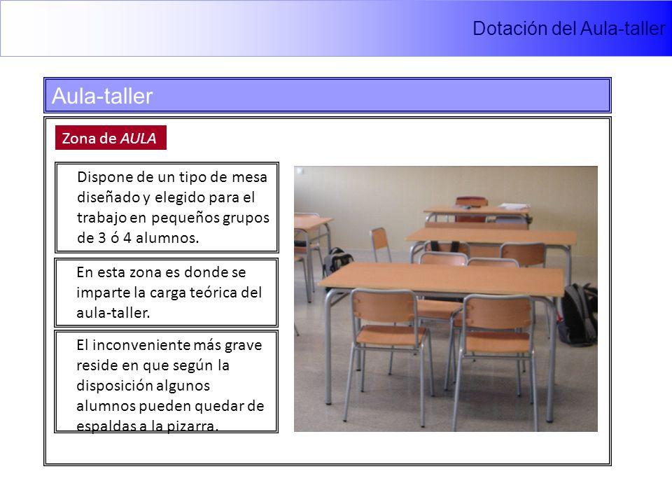 Dotación del Aula-taller Aula-taller Zona de AULA Dispone de un tipo de mesa diseñado y elegido para el trabajo en pequeños grupos de 3 ó 4 alumnos.