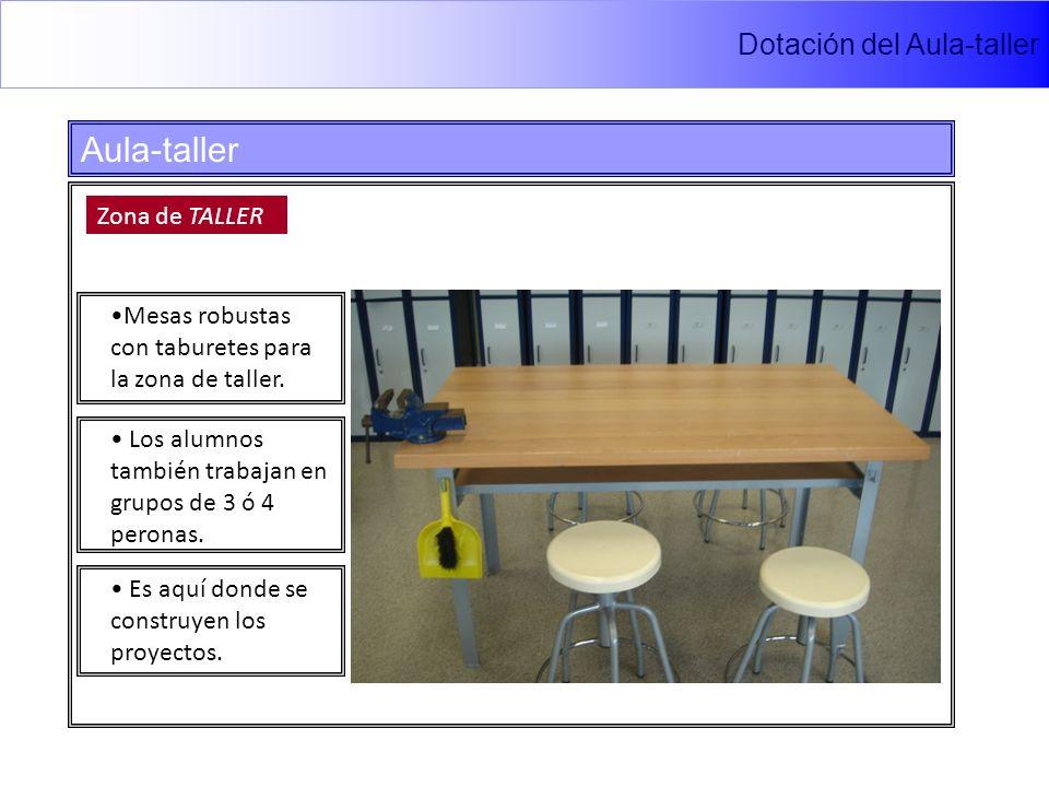 Dotación del Aula-taller Aula-taller Zona de TALLER Mesas robustas con taburetes para la zona de taller.