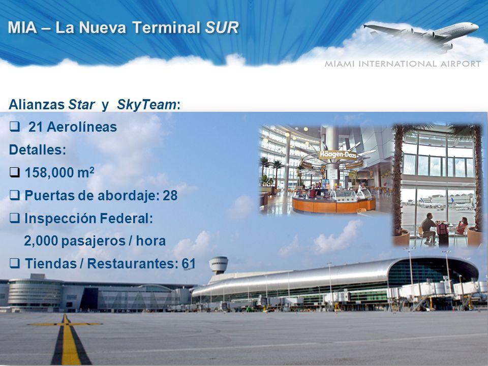 10 MIA – La Nueva Terminal SUR Alianzas Star y SkyTeam: 21 Aerolíneas Detalles: 158,000 m 2 Puertas de abordaje: 28 Inspección Federal: 2,000 pasajero
