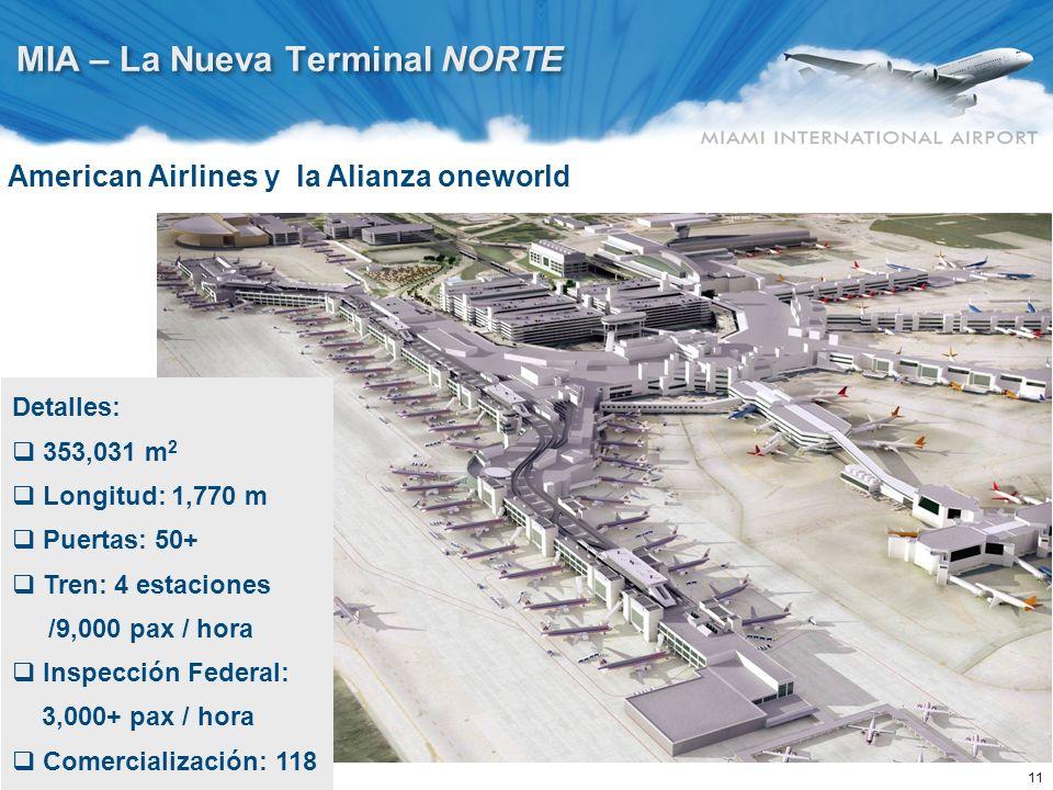 11 MIA – La Nueva Terminal NORTE Detalles: 353,031 m 2 Longitud: 1,770 m Puertas: 50+ Tren: 4 estaciones /9,000 pax / hora Inspección Federal: 3,000+