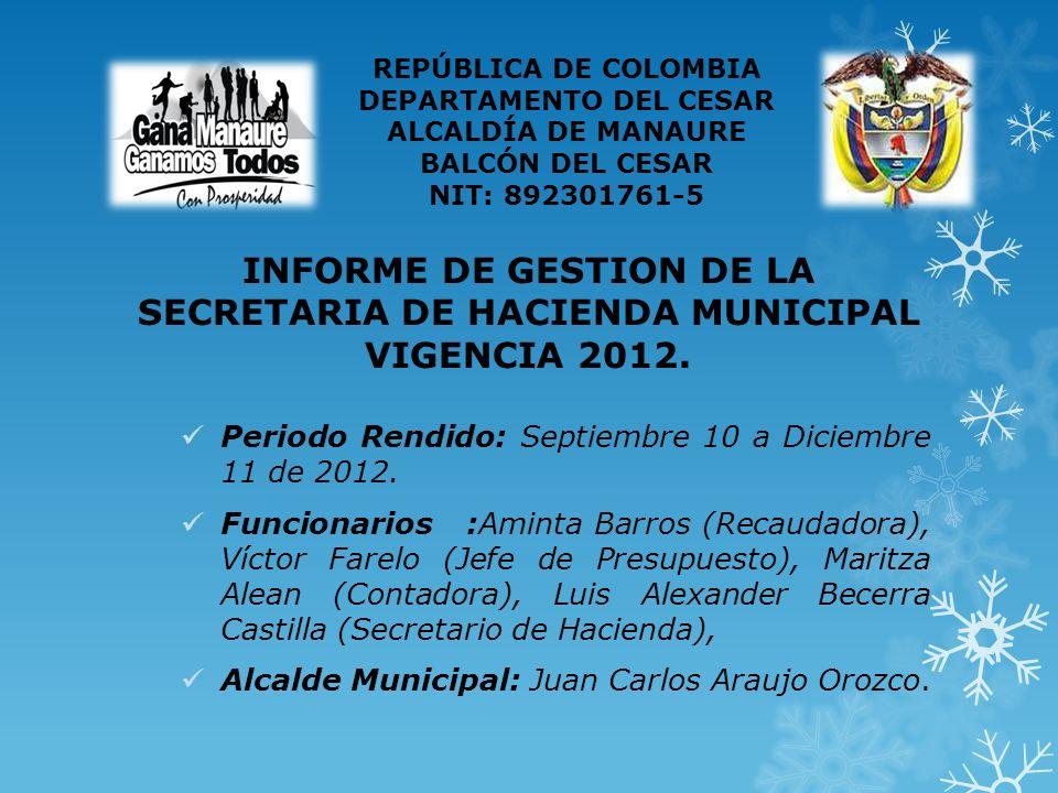 INFORME DE GESTION DE LA SECRETARIA DE HACIENDA MUNICIPAL VIGENCIA 2012.