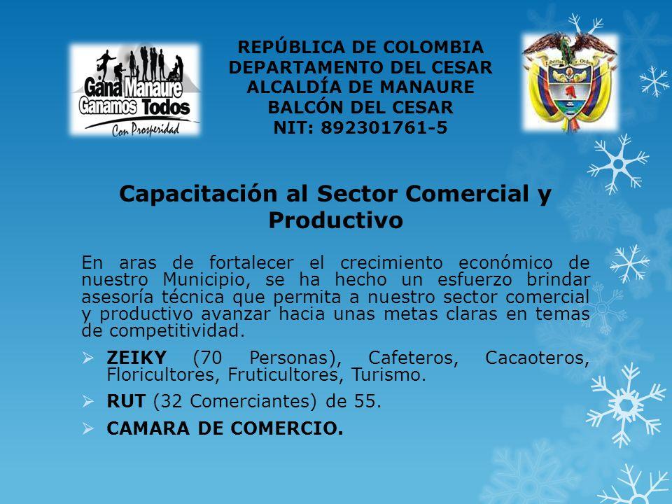 Capacitación al Sector Comercial y Productivo En aras de fortalecer el crecimiento económico de nuestro Municipio, se ha hecho un esfuerzo brindar asesoría técnica que permita a nuestro sector comercial y productivo avanzar hacia unas metas claras en temas de competitividad.