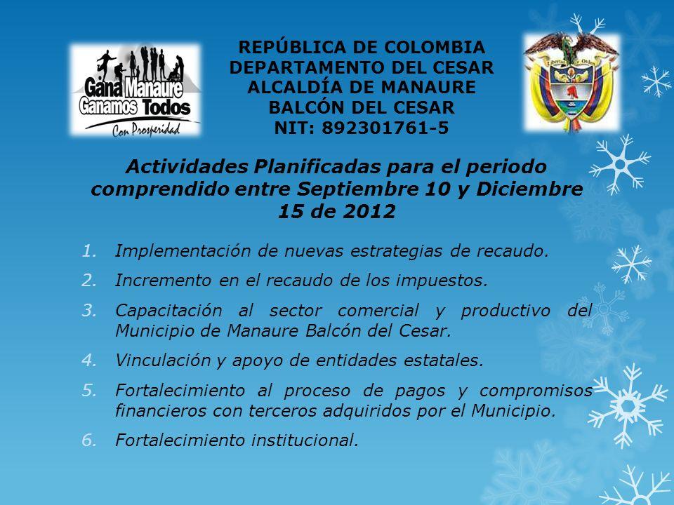 Actividades Planificadas para el periodo comprendido entre Septiembre 10 y Diciembre 15 de 2012 1.Implementación de nuevas estrategias de recaudo.