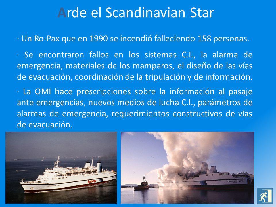 Arde el Scandinavian Star · Un Ro-Pax que en 1990 se incendió falleciendo 158 personas. · Se encontraron fallos en los sistemas C.I., la alarma de eme