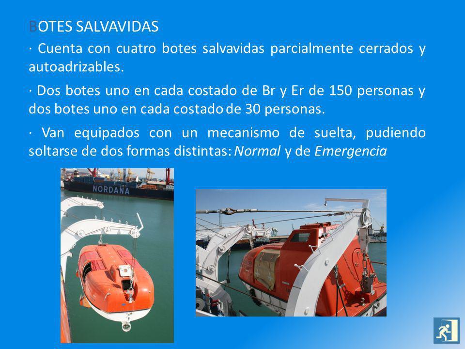 BOTES SALVAVIDAS · Cuenta con cuatro botes salvavidas parcialmente cerrados y autoadrizables. · Dos botes uno en cada costado de Br y Er de 150 person
