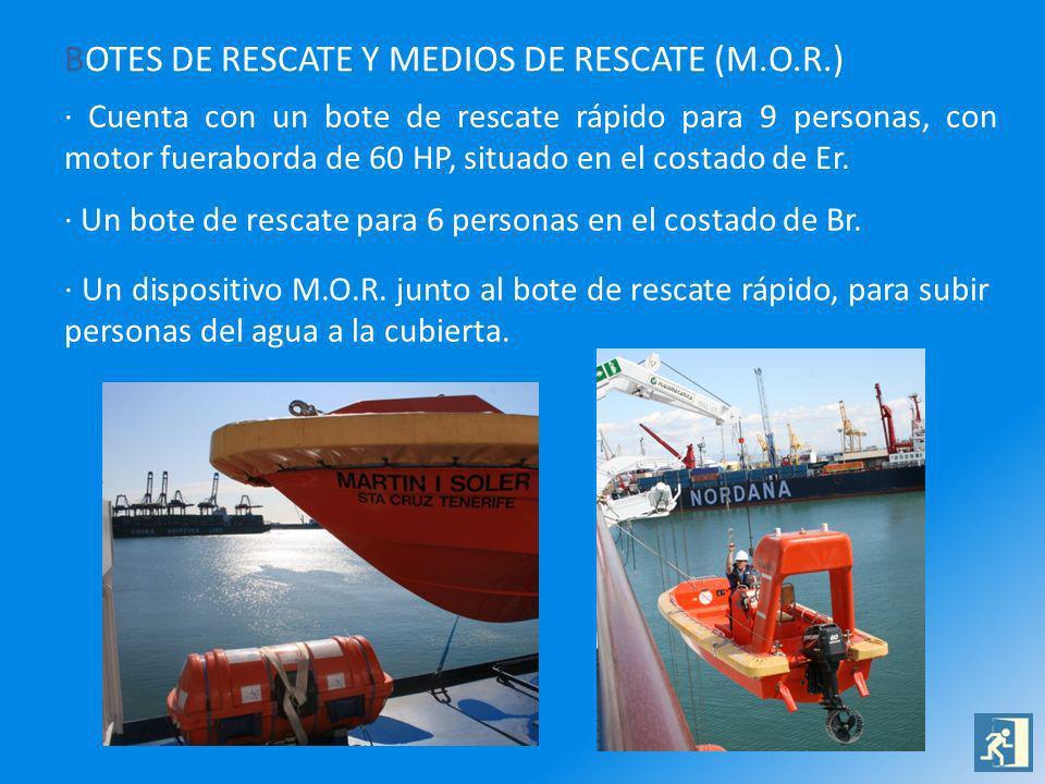 BOTES DE RESCATE Y MEDIOS DE RESCATE (M.O.R.) · Cuenta con un bote de rescate rápido para 9 personas, con motor fueraborda de 60 HP, situado en el cos