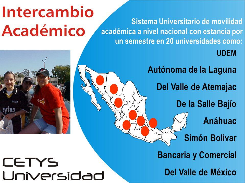UDEM Autónoma de la Laguna Del Valle de Atemajac De la Salle Bajío Anáhuac Simón Bolivar Bancaria y Comercial Del Valle de México Sistema Universitario de movilidad académica a nivel nacional con estancia por un semestre en 20 universidades como: