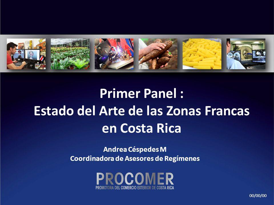 00/00/00 Primer Panel : Estado del Arte de las Zonas Francas en Costa Rica Andrea Céspedes M Coordinadora de Asesores de Regímenes