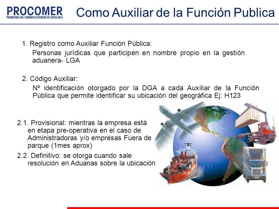 Como Auxiliar de la Función Publica 1. Registro como Auxiliar Función Pública: Personas jurídicas que participen en nombre propio en la gestión aduane