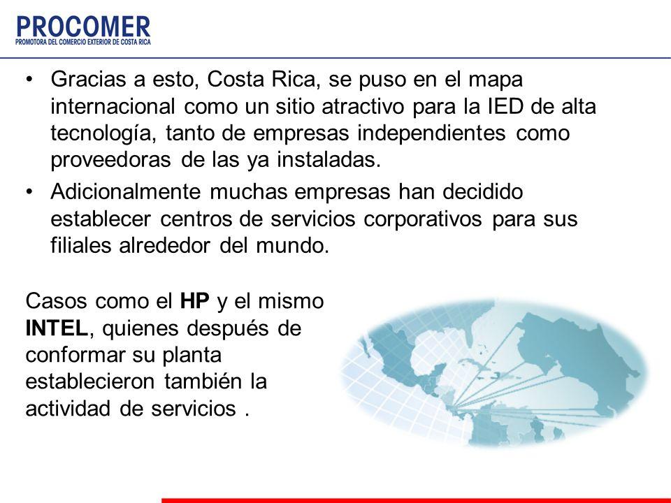 Gracias a esto, Costa Rica, se puso en el mapa internacional como un sitio atractivo para la IED de alta tecnología, tanto de empresas independientes