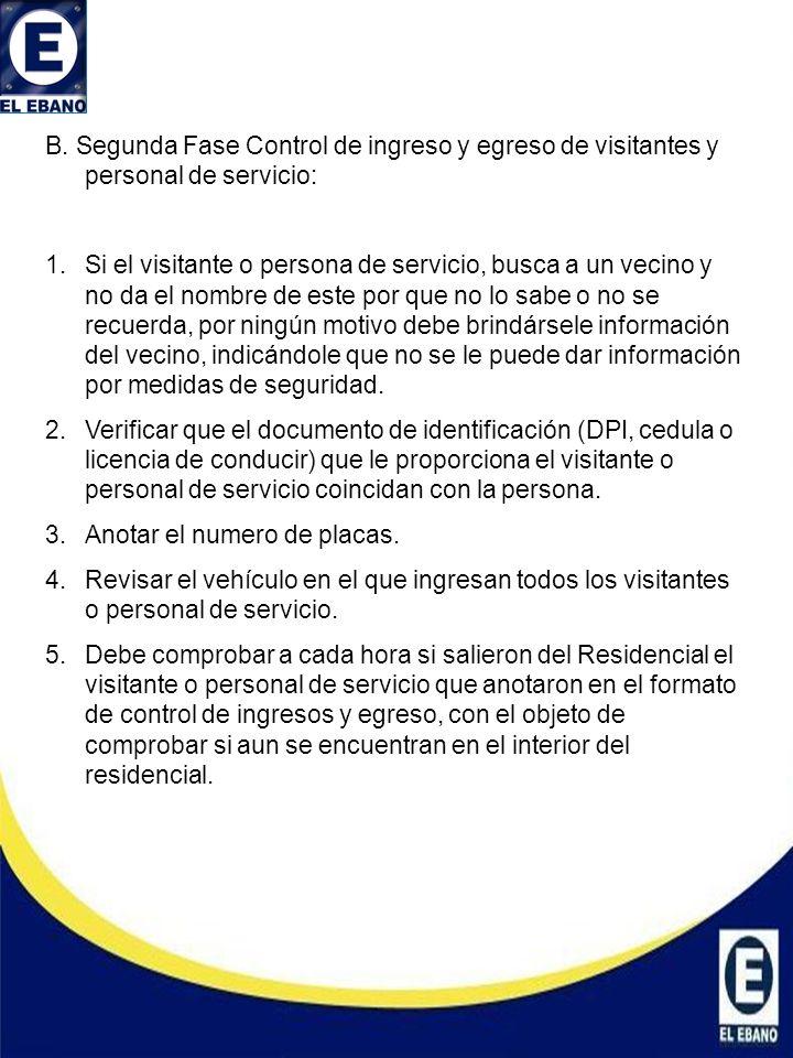 : B. Segunda Fase Control de ingreso y egreso de visitantes y personal de servicio: 1.Si el visitante o persona de servicio, busca a un vecino y no da
