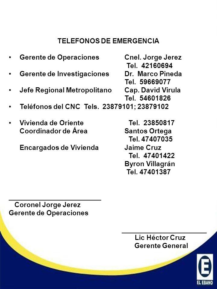 TELEFONOS DE EMERGENCIA Gerente de Operaciones Cnel. Jorge Jerez Tel. 42160694 Gerente de InvestigacionesDr. Marco Pineda Tel. 59669077 Jefe Regional