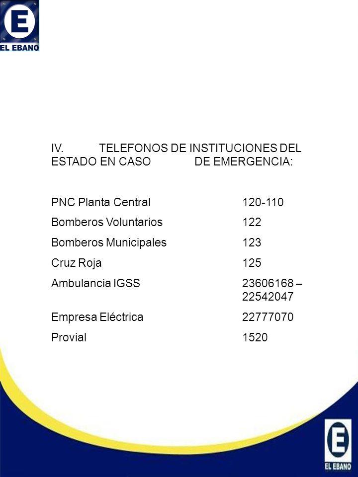 IV.TELEFONOS DE INSTITUCIONES DEL ESTADO EN CASO DE EMERGENCIA: PNC Planta Central120-110 Bomberos Voluntarios122 Bomberos Municipales123 Cruz Roja125