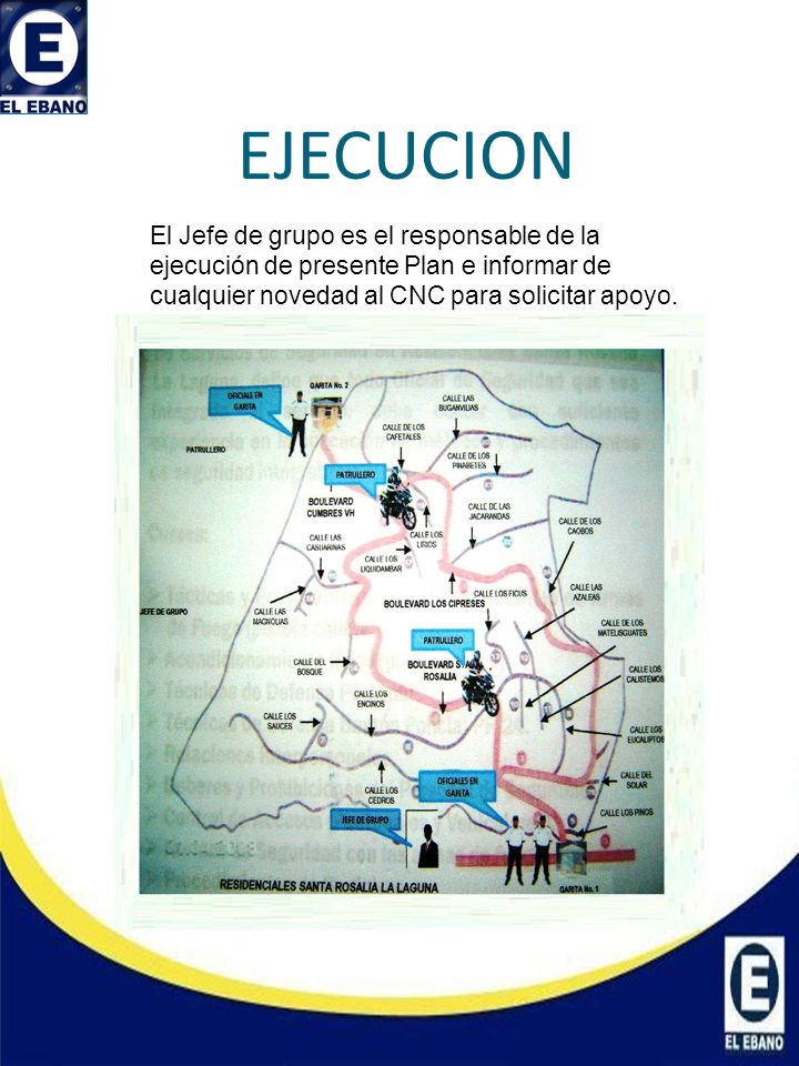 EJECUCION El Jefe de grupo es el responsable de la ejecución de presente Plan e informar de cualquier novedad al CNC para solicitar apoyo.
