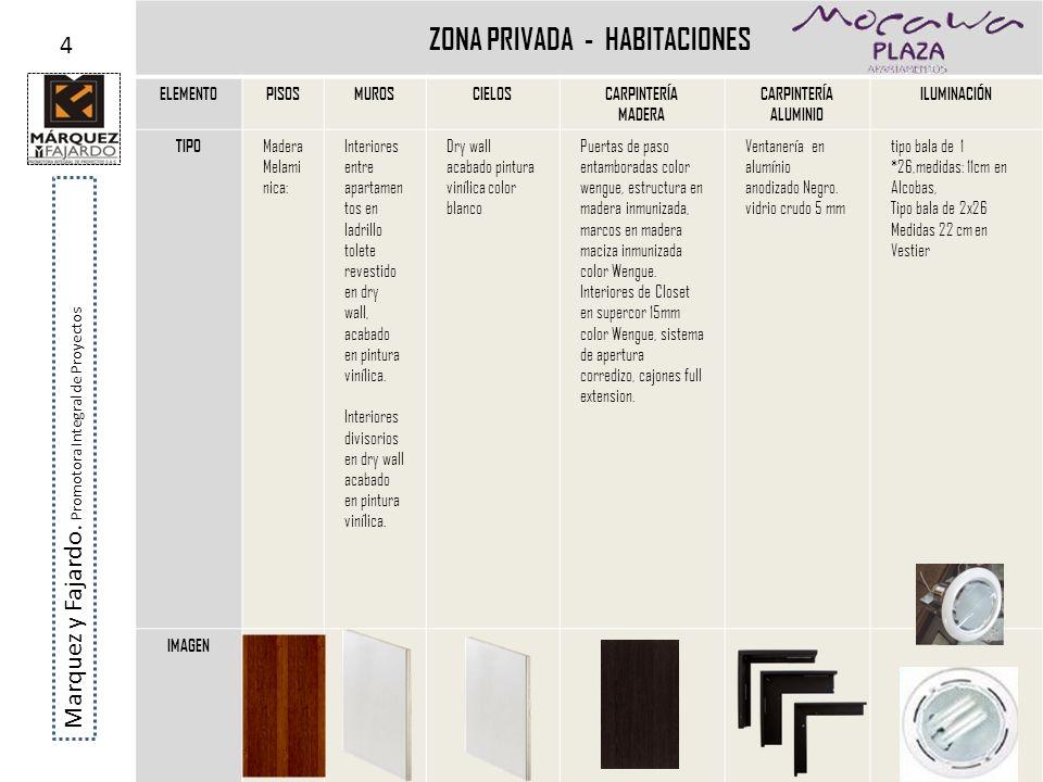ZONA PRIVADA - HABITACIONES ELEMENTOPISOSMUROSCIELOSCARPINTERÍA MADERA CARPINTERÍA ALUMINIO ILUMINACIÓN TIPO Madera Melami nica: Interiores entre apar