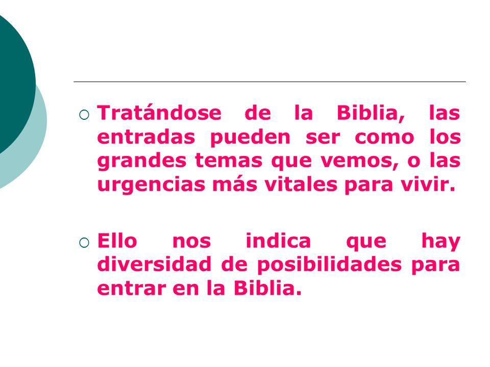 Tratándose de la Biblia, las entradas pueden ser como los grandes temas que vemos, o las urgencias más vitales para vivir. Ello nos indica que hay div