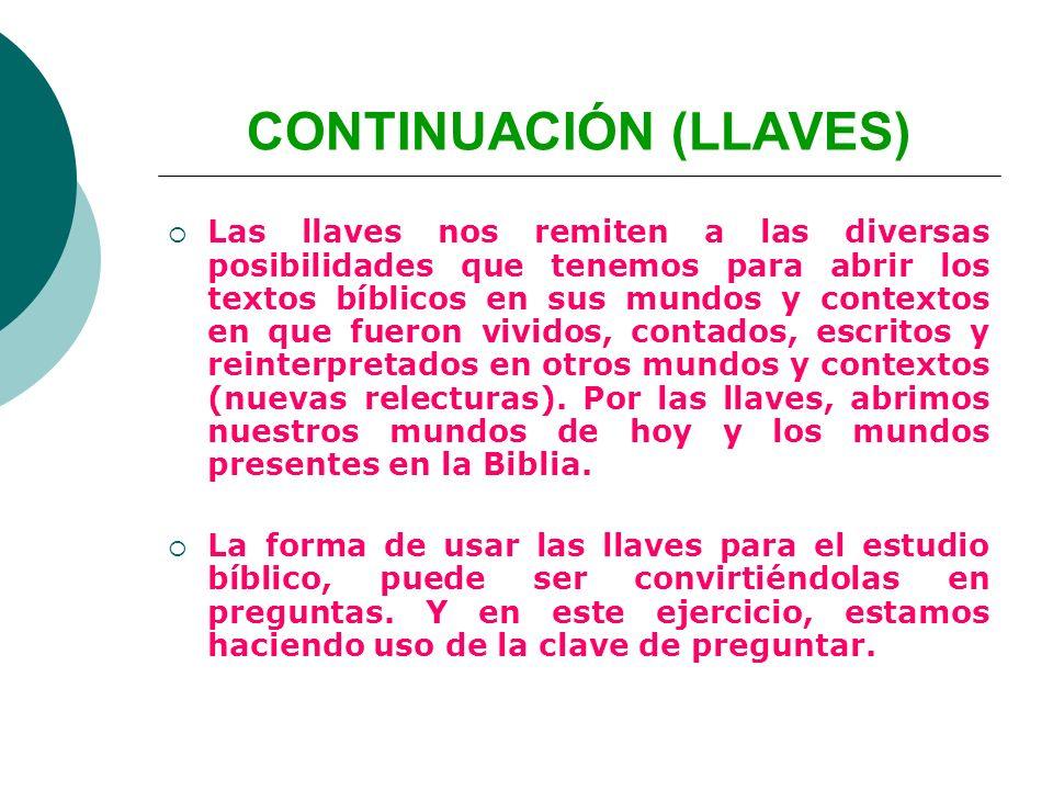 CONTINUACIÓN (LLAVES) Las llaves nos remiten a las diversas posibilidades que tenemos para abrir los textos bíblicos en sus mundos y contextos en que