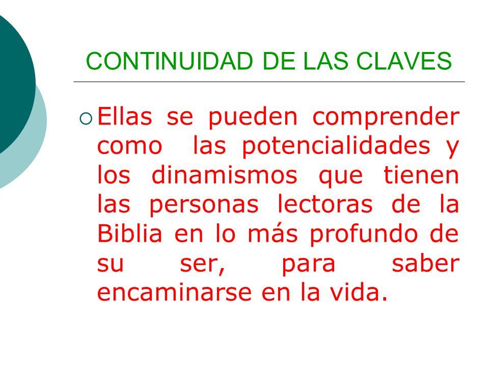 CONTINUIDAD DE LAS CLAVES Ellas se pueden comprender como las potencialidades y los dinamismos que tienen las personas lectoras de la Biblia en lo más