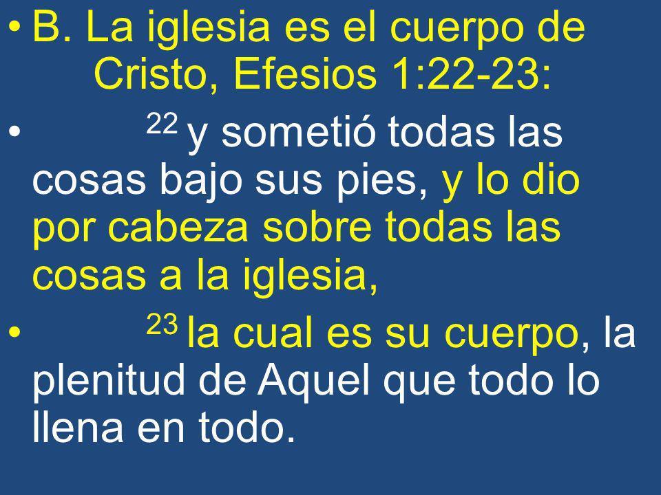 B. La iglesia es el cuerpo de Cristo, Efesios 1:22-23: 22 y sometió todas las cosas bajo sus pies, y lo dio por cabeza sobre todas las cosas a la igle