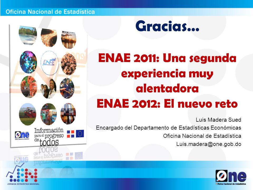 Gracias… ENAE 2011: Una segunda experiencia muy alentadora ENAE 2012: El nuevo reto Luis Madera Sued Encargado del Departamento de Estadísticas Económ