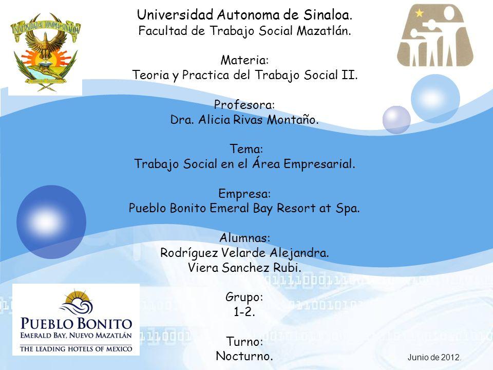 LOGO Junio de 2012. Universidad Autonoma de Sinaloa. Facultad de Trabajo Social Mazatlán. Materia: Teoria y Practica del Trabajo Social II. Profesora: